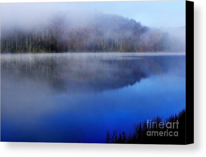 Lake Canvas Print featuring the photograph Autumn Morning Mist On Lake by Thomas R Fletcher