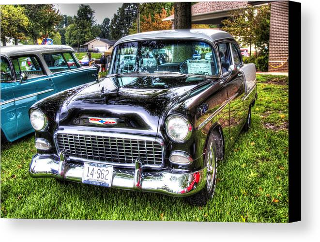 Car Canvas Print featuring the photograph Black And White Chevy by John Derby
