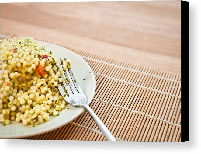 Board Canvas Print featuring the photograph Cous Cous Salad by Tom Gowanlock