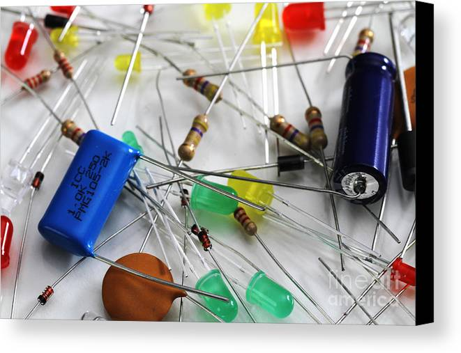 Capacitors Canvas Print featuring the photograph Electronic Components by Photo Researchers, Inc.