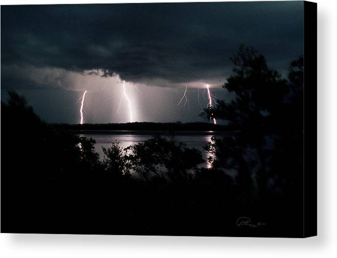 Lightning Canvas Print featuring the photograph Everglades Triple Threat by La Rae Roberts