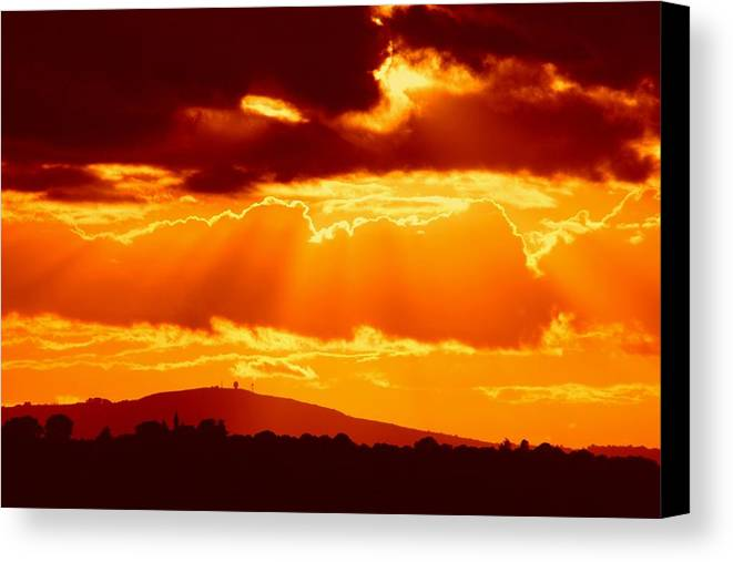Gifts From The Camera Canvas Print featuring the photograph Fire Sky by Ed Lukas