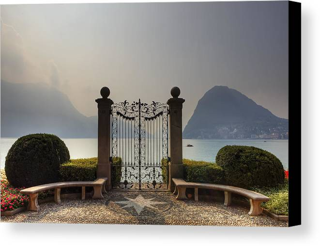 Monte Salvatore Canvas Print featuring the photograph Gateway To The Lake Of Lugano by Joana Kruse