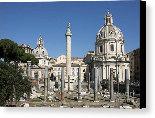 Worth Canvas Print featuring the photograph Imperial Fora With The Trajan's Column And The Church Santissimo Nome Di Maria. Rome by Bernard Jaubert