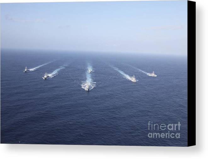 Front View Canvas Print featuring the photograph Military Ships Transit The Philippine by Stocktrek Images