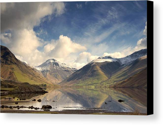 Cumbria Canvas Print featuring the photograph Mountains And Lake At Lake District by John Short