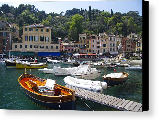 Portofino Canvas Print featuring the photograph Portofino In The Italian Riviera In Liguria Italy by David Smith