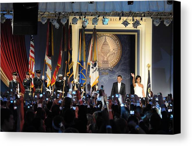 History Canvas Print featuring the photograph President And Michelle Obama Arrive by Everett