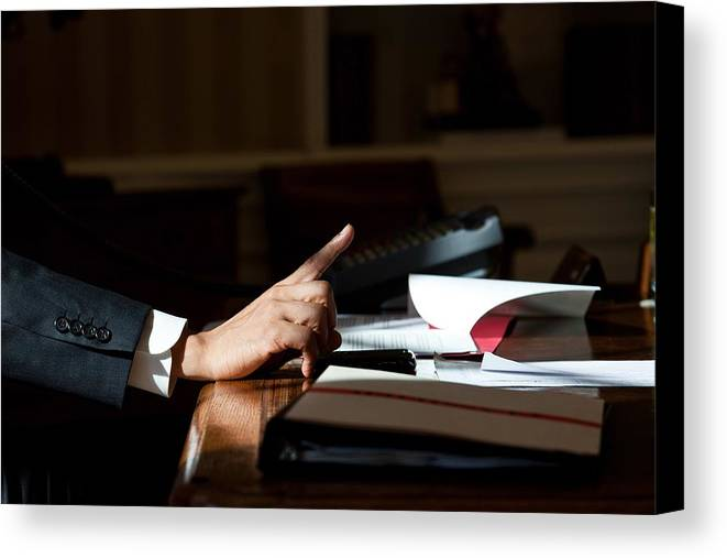 History Canvas Print featuring the photograph President Barack Obama Gestures by Everett
