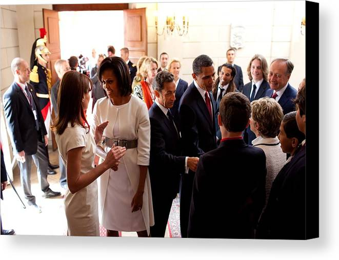 History Canvas Print featuring the photograph President Obama And French President by Everett