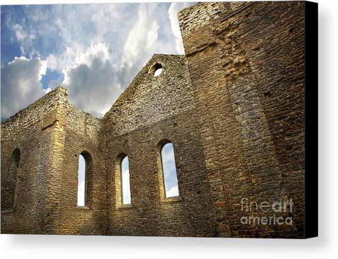 Architecture Canvas Print featuring the photograph Ruins Of A Church In South Glengarry by Sandra Cunningham