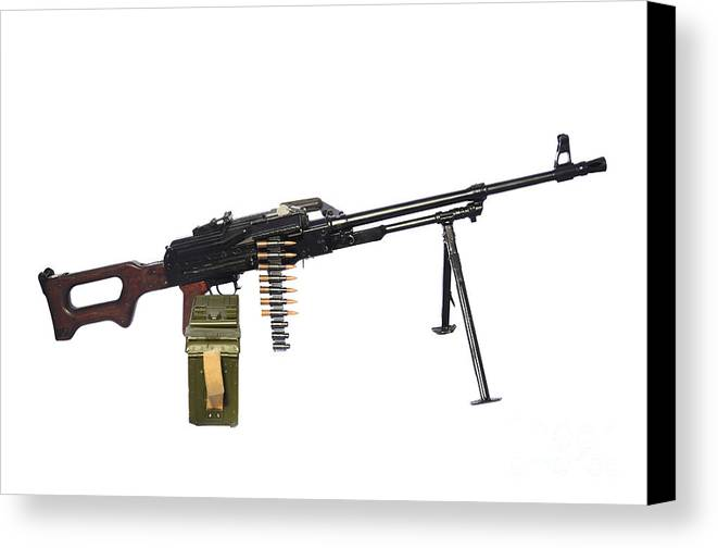 Single Object Canvas Print featuring the photograph Russian Pkm General-purpose Machine Gun by Andrew Chittock
