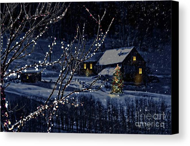 Architecture Canvas Print featuring the photograph Snowy Winter Scene Of A Cabin In Distance by Sandra Cunningham