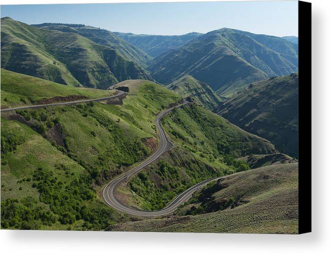 Horizontal Canvas Print featuring the photograph Usa, Washington, Asotin County, Mountain Road by Gary Weathers