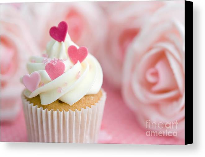 Cupcake Canvas Print featuring the photograph Valentine Cupcake by Ruth Black