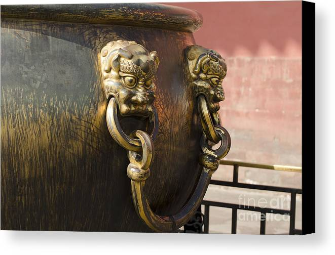Canvas Print featuring the photograph Water Vessel At Forbidden City by Terri Winkler