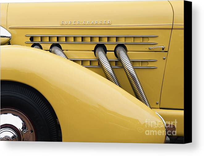 Tire Canvas Print featuring the photograph 1935 Auburn 851 Sc Speedster Detail - D008160 by Daniel Dempster