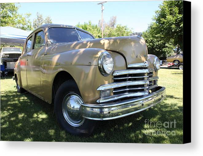 Transportation Canvas Print featuring the photograph 1949 Plymouth Delux Sedan . 5d16207 by Wingsdomain Art and Photography