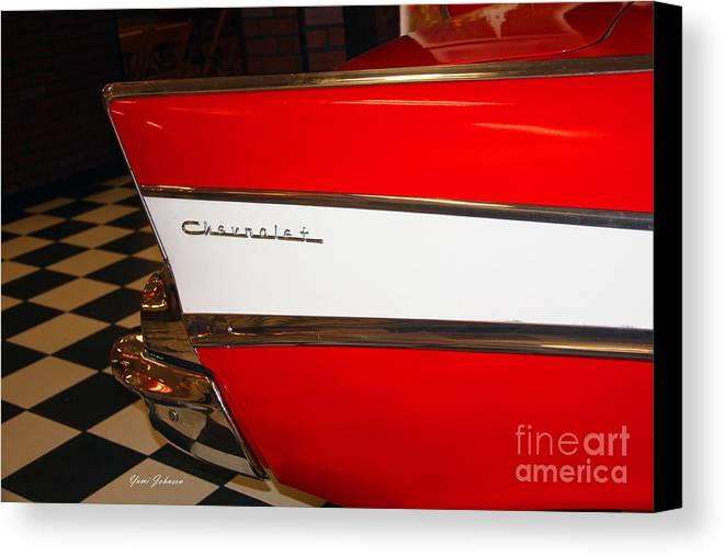 1957 Chevrolet Signe Canvas Print featuring the photograph 1957 Chevrolet by Yumi Johnson