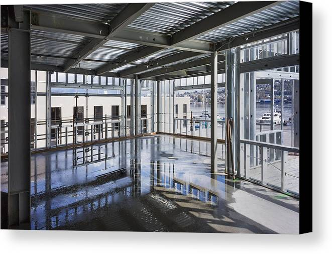 No People Canvas Print featuring the photograph Structural Steel Construction. Metal by Don Mason