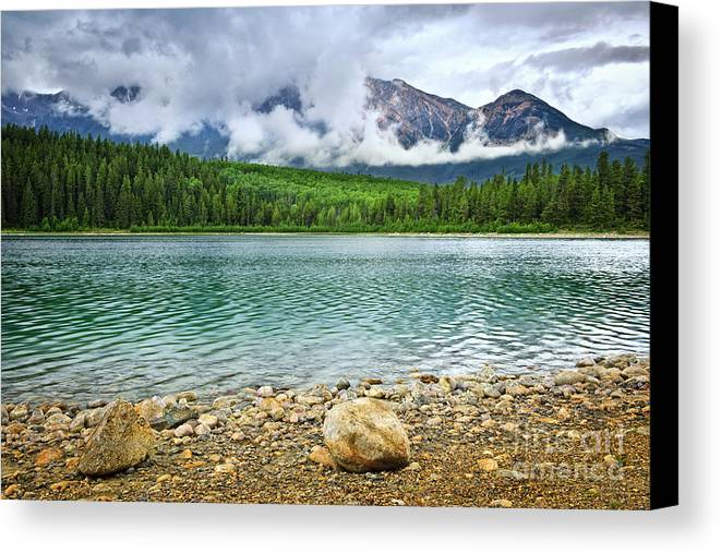 Lake Canvas Print featuring the photograph Mountain Lake In Jasper National Park by Elena Elisseeva