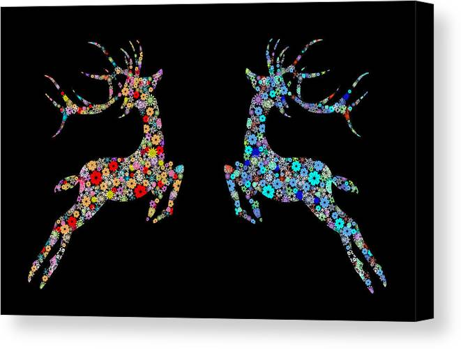 Animal Canvas Print featuring the painting Reindeer Design By Snowflakes by Setsiri Silapasuwanchai