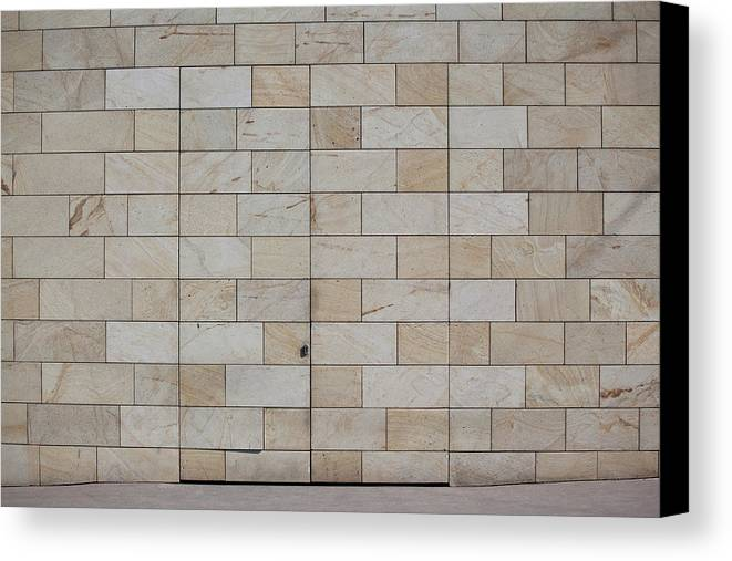 Horizontal Canvas Print featuring the photograph A Camouflaged Entrance To A Building by Halfdark