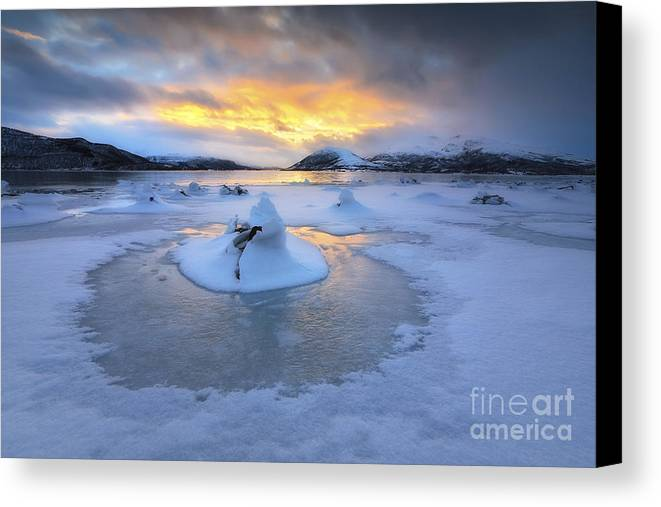 Evenskjer Canvas Print featuring the photograph A Frozen Fjord That Is Part by Arild Heitmann
