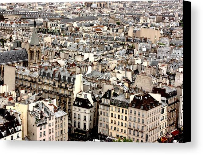 Horizontal Canvas Print featuring the photograph Aerial View Of Paris by Landscape and urban landscape