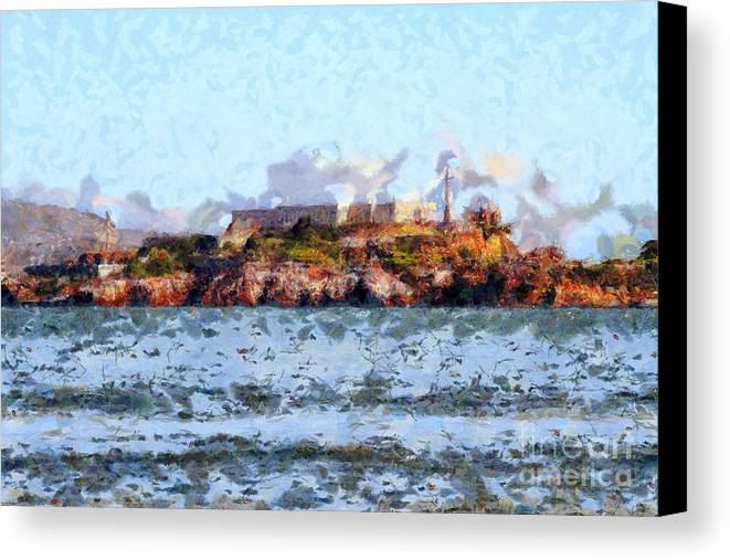 San Francisco Canvas Print featuring the photograph Alcatraz Island In San Francisco California . 7d14031 by Wingsdomain Art and Photography