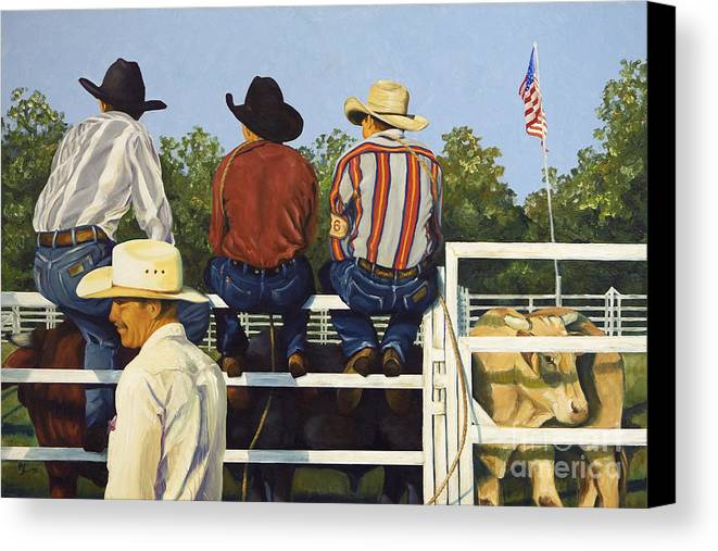 Cowboys Canvas Print featuring the painting All American by Pat Burns