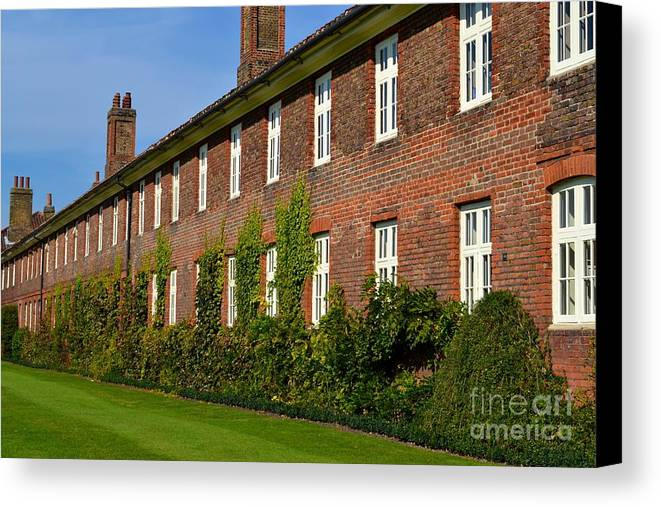 Terrace Canvas Print featuring the photograph All In A Row by Helen Esdaile
