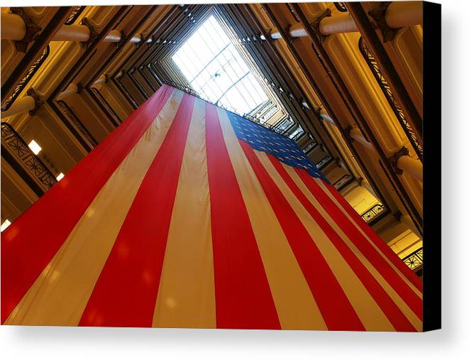American Canvas Print featuring the photograph American Flag In Marshall Field's by Paul Ge