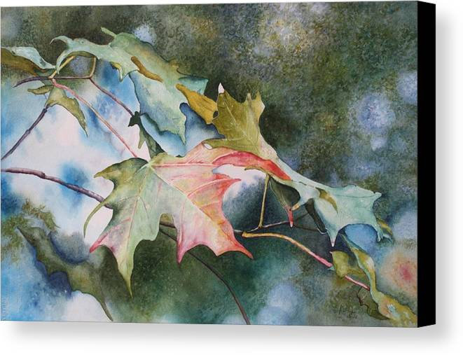Close Focus Nature Scene Canvas Print featuring the painting Autumn Sparkle by Patsy Sharpe