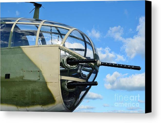 North American B-25j Mitchell Canvas Print featuring the photograph B-25j Nose by Lynda Dawson-Youngclaus