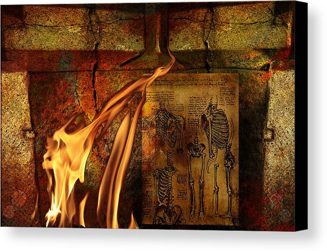 Surreal Canvas Print featuring the mixed media Back Bone #3 by Janet Kearns