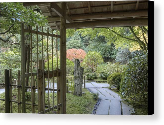 Mood Canvas Print featuring the photograph Bamboo Gate And Traditional Arch by Douglas Orton