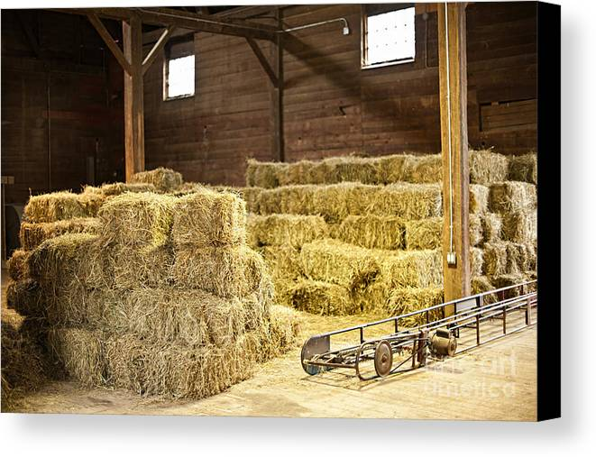 Barn Canvas Print featuring the photograph Barn With Hay Bales by Elena Elisseeva