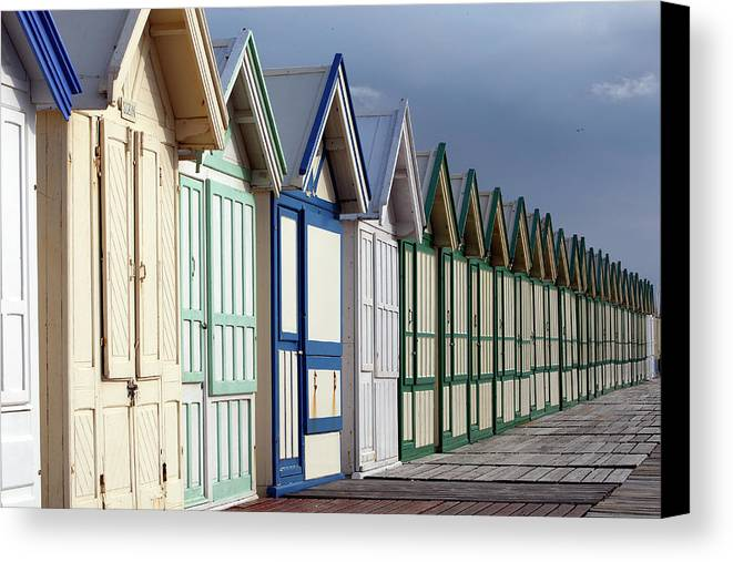 Horizontal Canvas Print featuring the photograph Beach Cabins by Sylvain Cordier