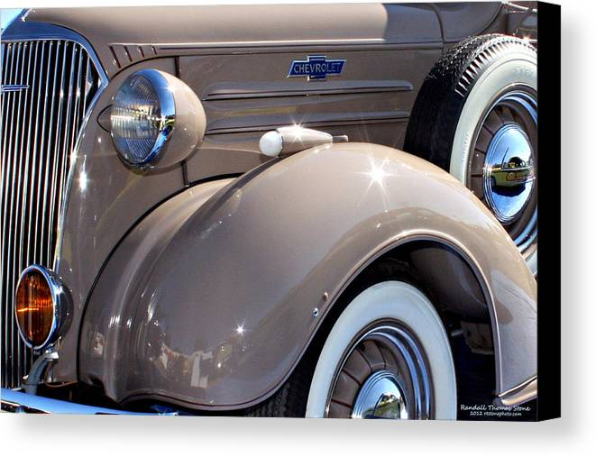Pickup Canvas Print featuring the photograph Beige 1937 Chevrolet Pickup Truck by Randall Thomas Stone