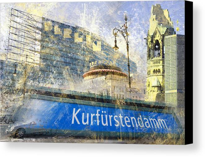 Postcard Canvas Print featuring the photograph Berlin Composing by Melanie Viola