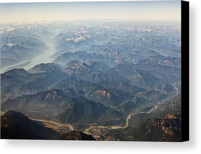 Mountain Canvas Print featuring the digital art Between Vancouver And Kelowna Bc Canada by Diane Dugas
