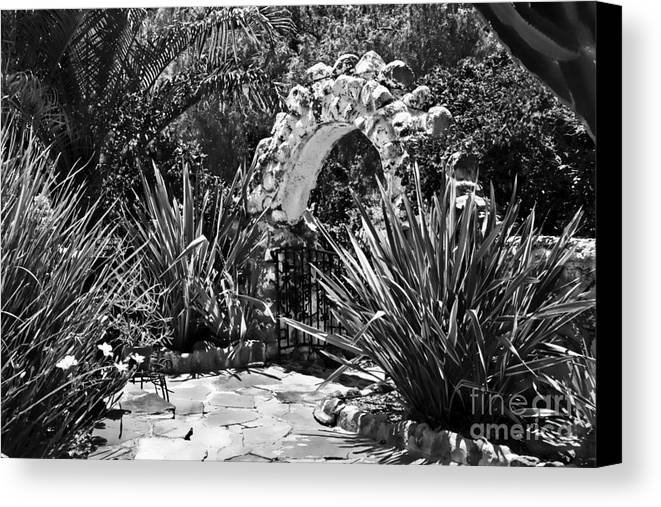 Arbor Canvas Print featuring the photograph Black And White Mexican Patio With Stone Arbor San Diego California Usa by Sherry Curry