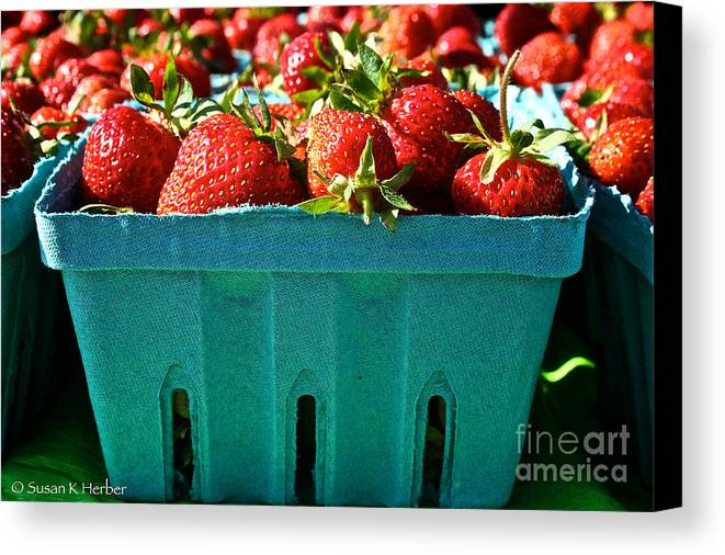 Food Canvas Print featuring the photograph Blue Box by Susan Herber