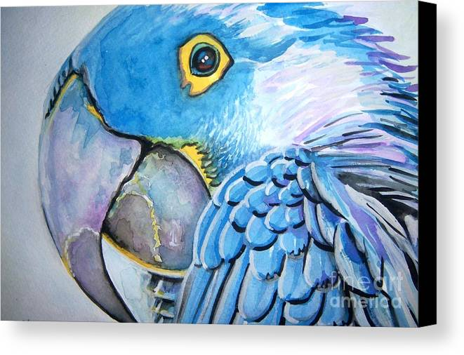 Parrot Canvas Print featuring the painting Blue Parrot by Ken Huber