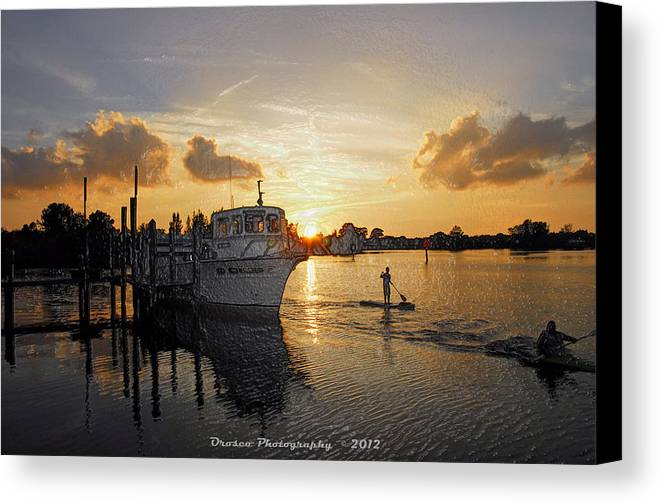 Boat Canvas Print featuring the photograph Boat Plastic Sunset by G Adam Orosco