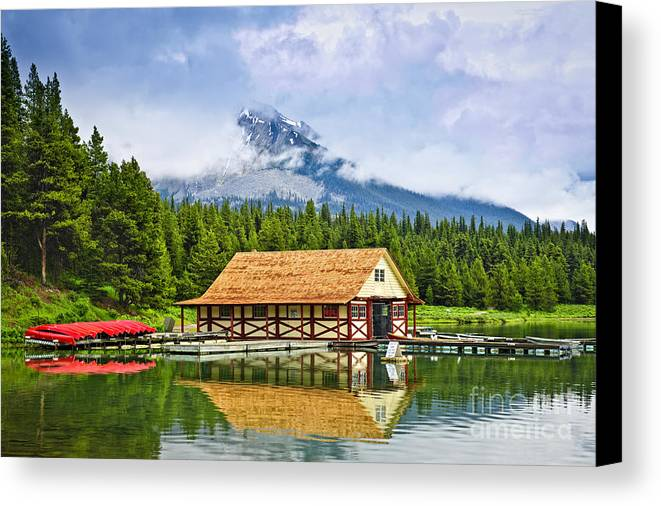Boat House Canvas Print featuring the photograph Boathouse On Mountain Lake by Elena Elisseeva
