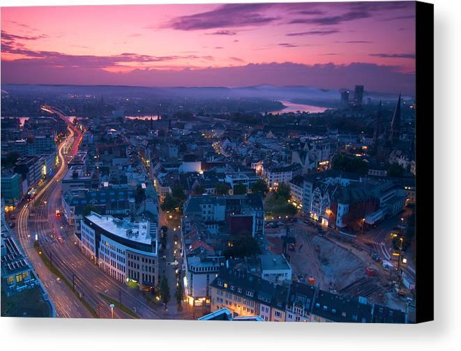 Bonn Canvas Print featuring the photograph Bonn Panorama - Stadthaus by Andre Distel