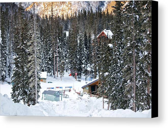 Landscape Canvas Print featuring the photograph Bottom Of Ski Slope by Lisa Spencer