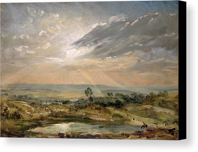 Sky; Landscape; Sunrise; Sunset; Dramatic; Romantic; Romanticism Canvas Print featuring the painting Branch Hill Pond Hampstead by John Constable